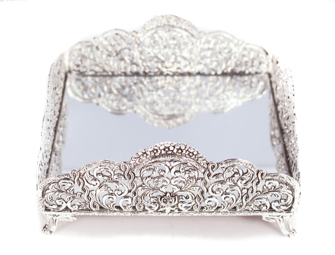 STERLING SILVER FLOWER & GARLAND DESIGNED MIRRORED SQUARE FLAT NAPKIN HOLDER