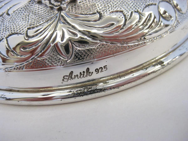 LARGE 925 STERLING SILVER HAND CHASED & FLORAL APPLIQUE ELIYAHU PASSOVER CUP