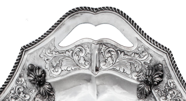 ITALIAN 925 STERLING SILVER HANDMADE CHAISED LEAF APPLIQUE & GARLAND DESIGN TRAY
