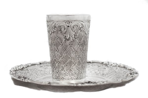 FINE ITALIAN 925 STERLING SILVER HANDMADE CHASED LEAF DIAMOND CUT CUP & TRAY