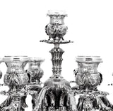 ITALIAN 925 STERLING SILVER HAND CHASED LEAF APPLIQUES ELEVEN LIGHT CANDELABRA