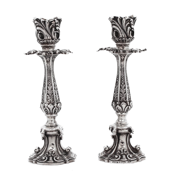925 STERLING SILVER HANDCRAFTED HEAVY LEAF & SHELL CHASED CANDLESTICKS