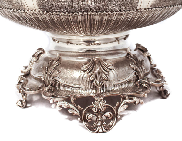 FINE 925 STERLING SILVER & GILDED LEAF APPLIQUÉ CHASED SWIRL NETILAT WASH CUP & BOWL SET