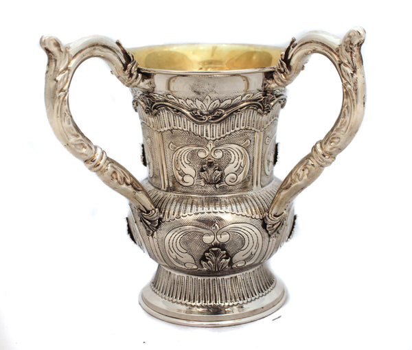 FINE 925 STERLING SILVER & GILDED LEAF APPLIQUÉ CHASED SWIRL MATTE & SHINY WASH CUP & BOWL SET
