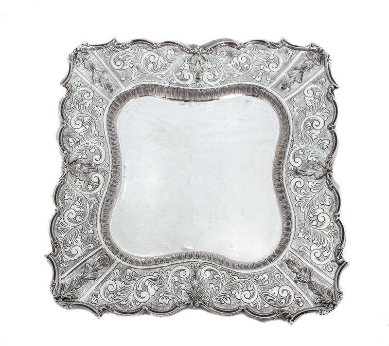 LARGE 925 STERLING SILVER ORNATE GARLAND DESIGN LEAF APPLIQUE ELIYAHU CUP & TRAY