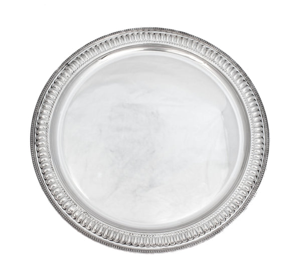ITALIAN 925 STERLING SILVER HAND WROUGHT INTRICATE ROUND PLATTER TRAY