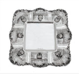 925 STERLING SILVER LEAF APPLIQUES STRIATED LARGE SQUARE ELIYAHU CUP & TRAY