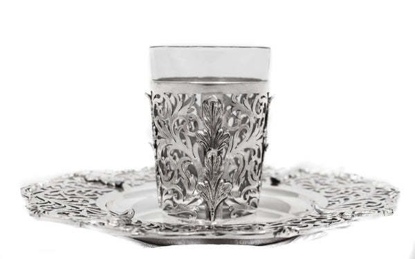 FINE 925 STERLING SILVER HANDMADE GLASS INSERT ORNATE FLORAL CUP & TRAY