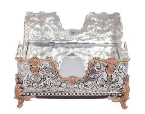 STERLING SILVER GILDED GARLAND DESIGNED MIRRORED SQUARE FLAT NAPKIN HOLDER