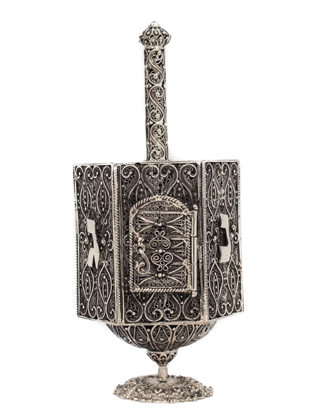 925 STERLING SILVER HANDMADE UNIQUE ORNATE FILIGREE DREIDEL WITH DOOR ON STAND