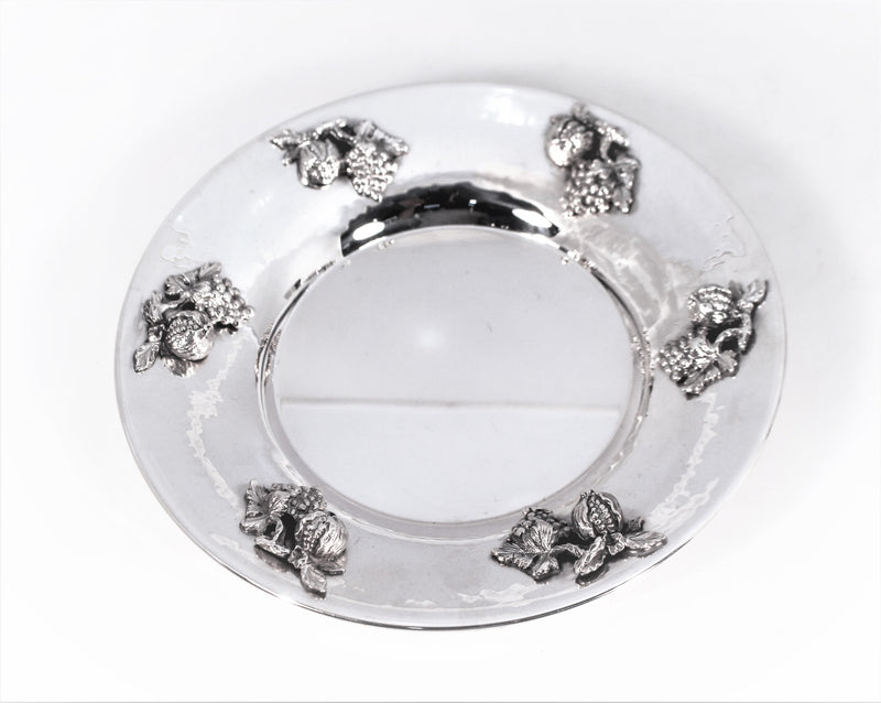 FINE ITALIAN 925 STERLING SILVER HANDMADE FOOTED POMEGRANATE APPLIQUE CUP & TRAY