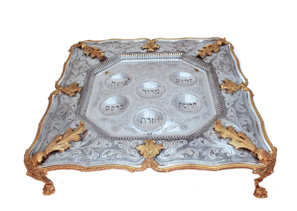 925 STERLING SILVER GILDED ORNATE CHASED LEAF APPLIQUES STANDING SEDER PLATE