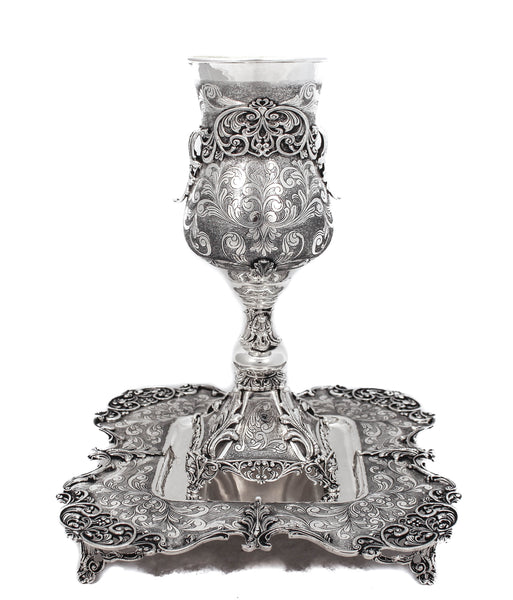 STERLING SILVER ORNATE GARLAND DESIGN LEAF APPLIQUE ELIYAHU CUP & FOOTED TRAY