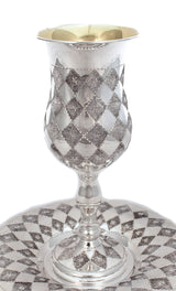 925 STERLING SILVER HANDCRAFTED GLOSSY DIAMOND CUT & SHAPE PASSOVER CUP & TRAY