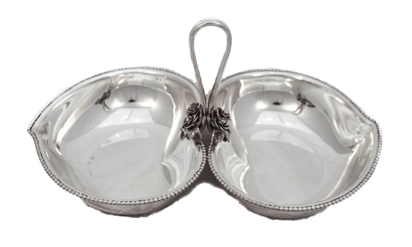 ITALIAN FINE STERLING SILVER HEART SHAPED DESIGNED FLORAL APPLIQUE DOUBLE DISH