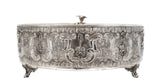 925 STERLING SILVER & LUCITE HAND WROUGHT FLORAL EMBOSSED MATZA HOLDER