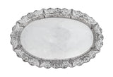 925 STERLING SILVER HAND CHASED SWIRL & FLORAL APPLIQUE OVAL TRAY