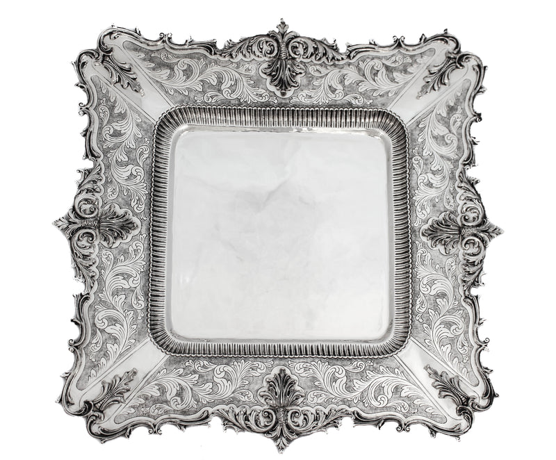 FINE 925 STERLING SILVER SQUARE HAND CHASED LEAF & GARLAND DESIGN PLATTER TRAY