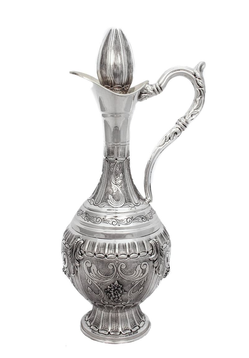 925 STERLING SILVER HAND CHASED WORK WITH LEAF APPLIQUES WINE DECANTER