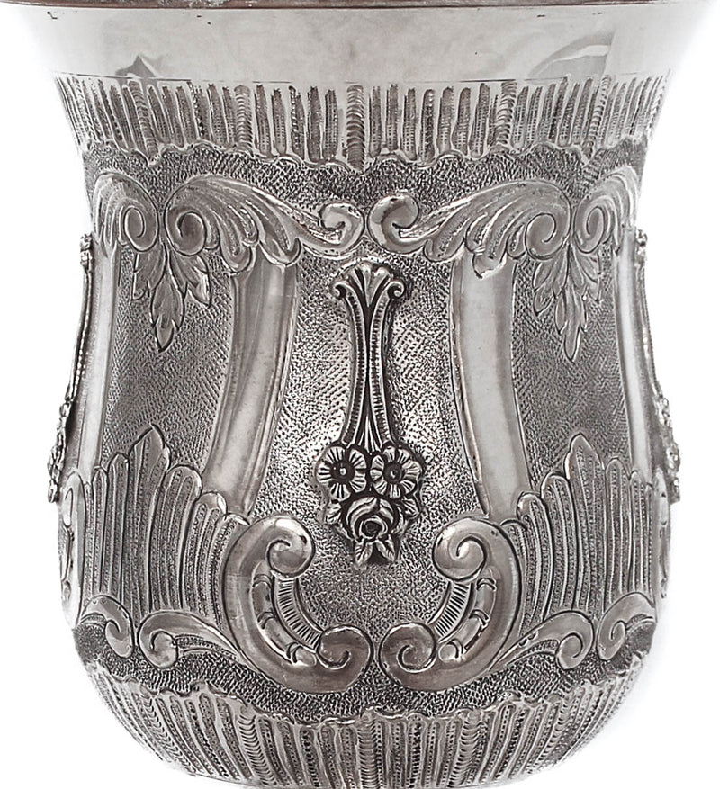 925 STERLING SILVER HANDCRAFTED CHASED & FLOWER APPLIQUES LARGE CUP