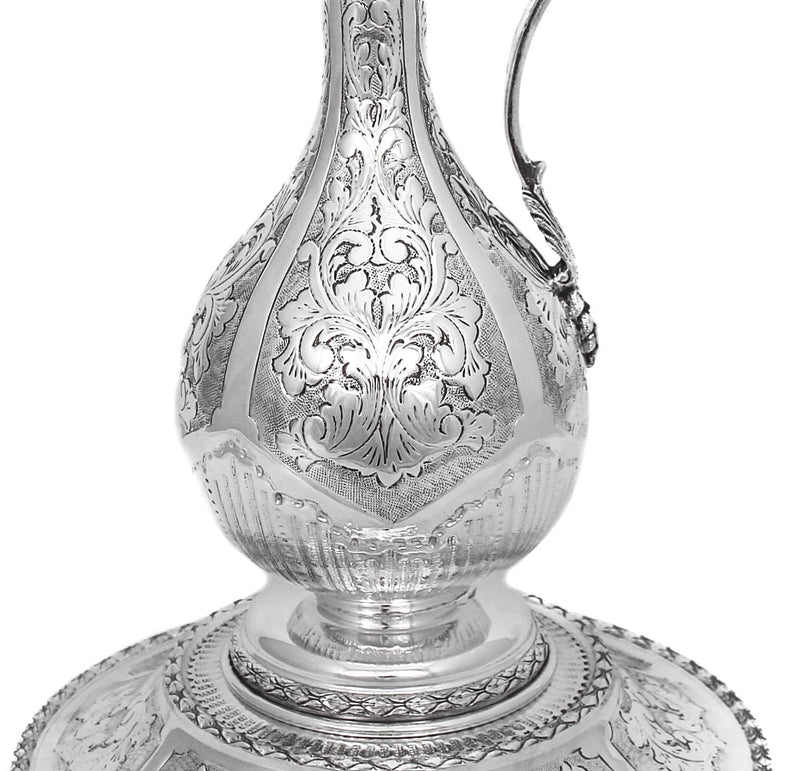 LARGE ITALIAN 925 STERLING SILVER HANDMADE LEAF APPLIQUE PITCHER DECANTER & TRAY