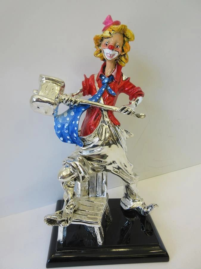 ITALIAN SILVER PLATED & COLORED ENAMEL HANDCRAFTED HAMMER CLOWN FIGURINE STAND