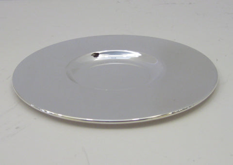 FINE ITALIAN 925 STERLING SILVER ROUND MODERN SHINY SLEEK SMOOTH PLATE TRAY