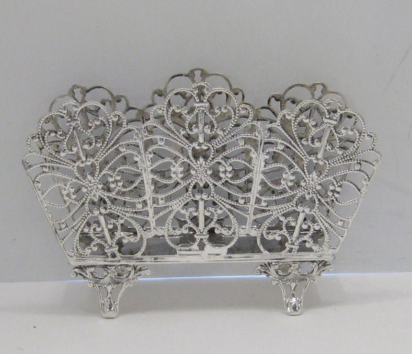 FINE ITALIAN 925 STERLING SILVER HANDCRAFTED FLORAL FILIGREE NAPKIN HOLDER