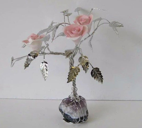 ITALIAN SILVER PLATED & PAINTED PORCELAIN PALE PINK ROSE TREE & ROCK