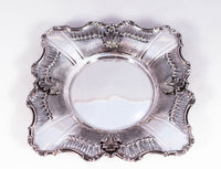 925 STERLING SILVER HANDMADE CHASED ROSE SHAPED CUP & LEAF APPLIQUE TRAY