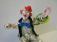 FINE ITALIAN SILVER PLATED & ENAMEL HANDCRAFTED FUN CIRCUS CLOWN FIGURINE