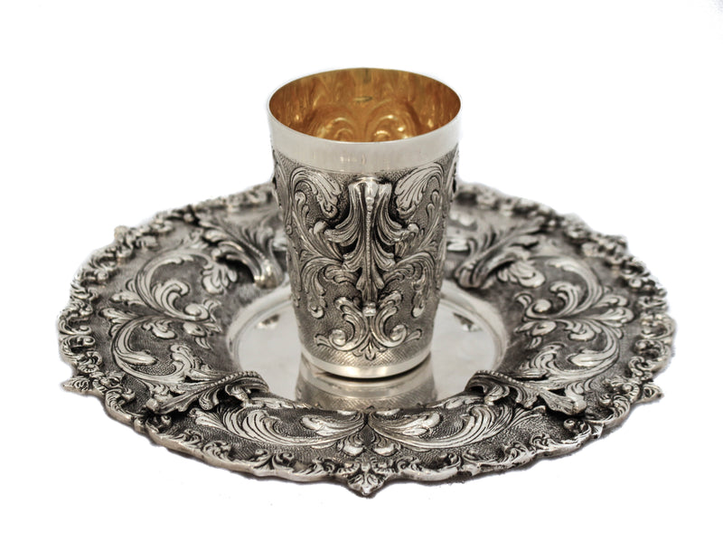 925 STERLING SILVER HANDMADE CHASED GARLAND DESIGN LEAF APPLIQUE CUP & TRAY