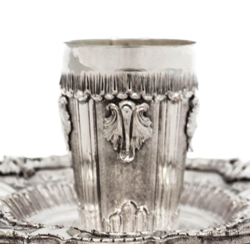 FINE 925 STERLING SILVER HAND WROUGHT SWIRL CHASED ORNATE CUP & TRAY