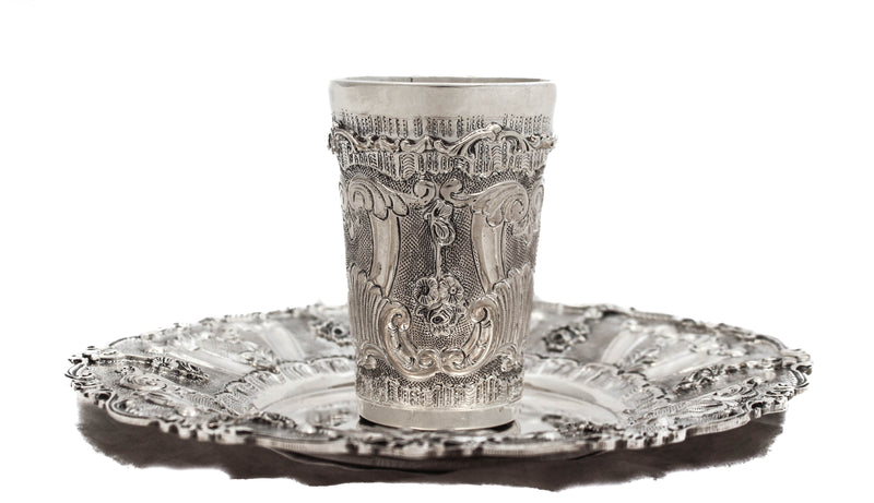 FINE 925 STERLING SILVER HANDMADE CHASED FLORAL ORNATE MATTE & SHINY CUP & TRAY