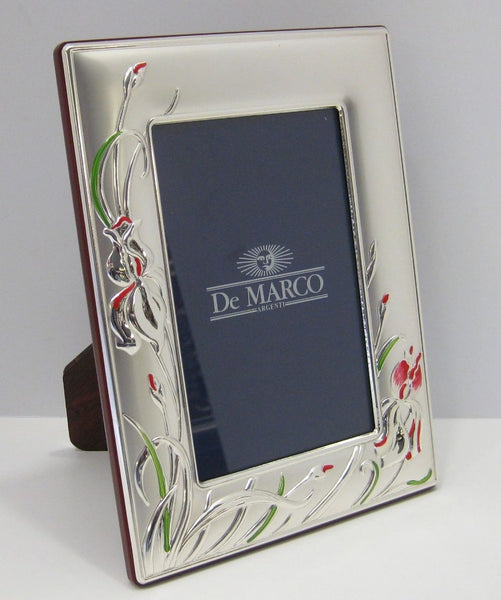 ITALIAN SILVER LAMINATE SHINY & MATTE SUNFLOWER 6 X 8 PHOTO PICTURE FRAME