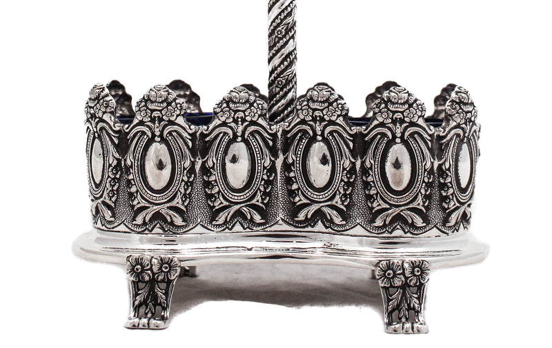 FINE 925 STERLING SILVER & BLUE GLASS MIRROR FLORAL ORNATE DOUBLE SALT HOLDER