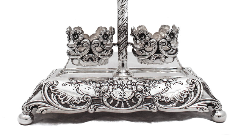 PORTUGUESE 925 STERLING SILVER HEAVY DETAILED SWIRL ORNATE DOUBLE SALT HOLDER