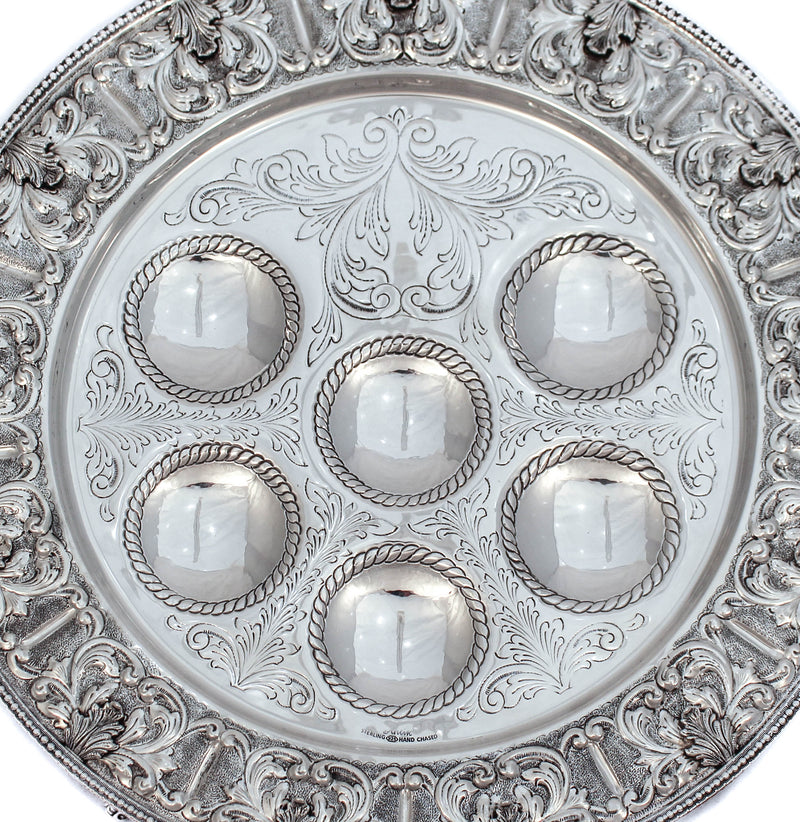 FINE 925 STERLING SILVER GARLAND DESIGN ORNATE CHASED SEDER PLATE WITH SHELVES