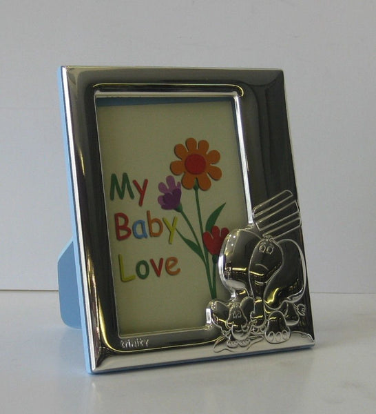 ITALIAN 925 SILVER HAND WROUGHT BABY ELEPHANT BLUE KIDS PICTURE FRAME