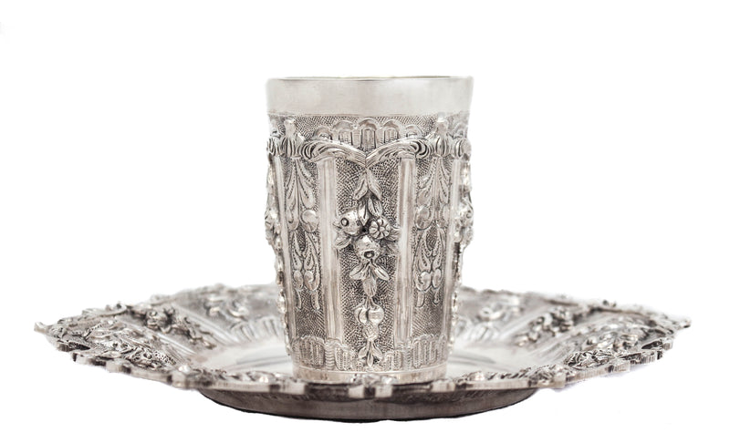 925 STERLING SILVER HAND CHASED FLORAL APPLIQUES CUP & TRAY