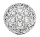 FINE 925 STERLING SILVER CUT OUT LACE CHASED SEDER PLATE WITH SHELVES