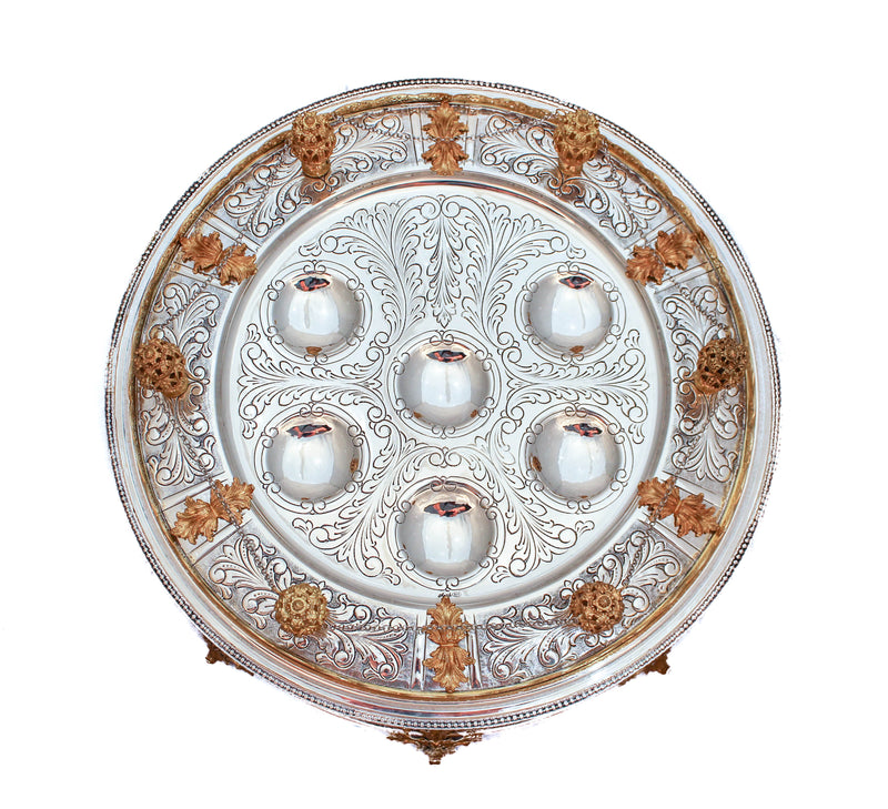 FINE STERLING SILVER & GILDED GARLAND DESIGNED CHASED SEDER PLATE WITH SHELVES