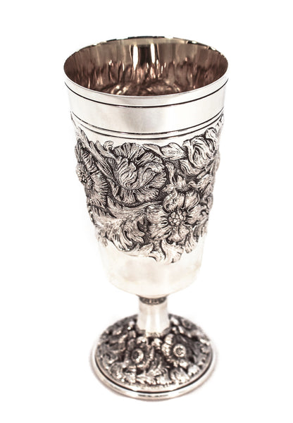 FINE 925 STERLING SILVER HAND WROUGHT HEAVY ROUND FLORAL LEAF CUP & TRAY