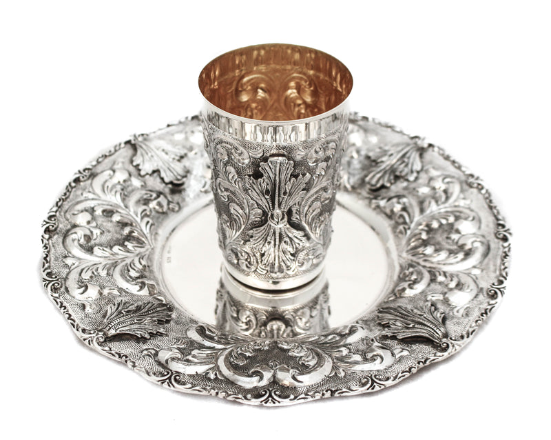 925 STERLING SILVER HANDMADE LEAF APPLIQUE MATTE & SHINY CUP & TRAY