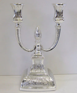 925 STERLING SILVER HAND CHASED SWIRL MATTE SQUARE 2 LIGHT CANDELABRA