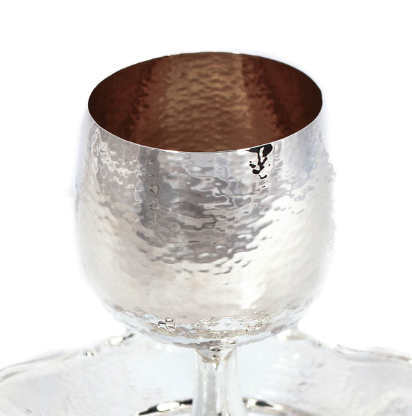ITALIAN 925 STERLING SILVER HANDMADE MODERN  HAMMERED CUP ON STEM & TRAY