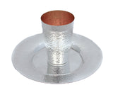 FINE 925 STERLING SILVER HANDMADE MODERN HAMMERED PATTERNED CUP & TRAY