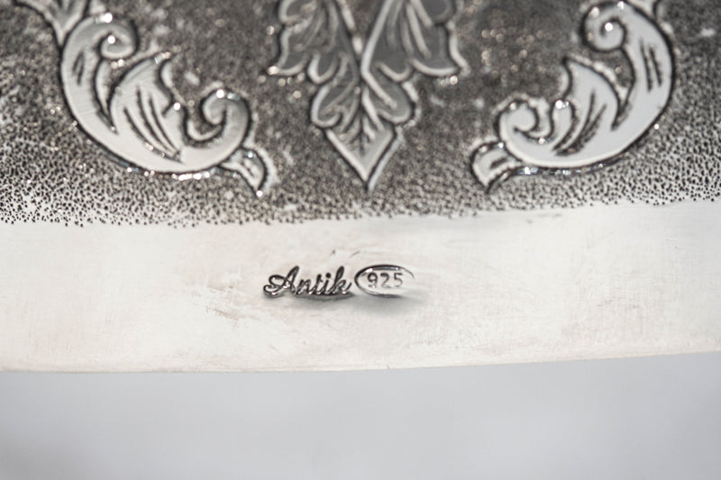 FINE 925 STERLING SILVER & LUCITE HAND WROUGHT LEAF APPLIQUE MATZA HOLDER