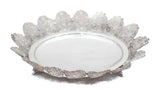 ITALIAN 925 STERLING SILVER HANDMADE FLORAL FILIGREE OVAL DISH WITH LEGS