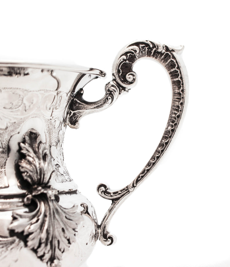 ITALIAN 925 STERLING SILVER HANDMADE LEAF APPLIQUÉ CHASED MATTE & SHINY WASH CUP